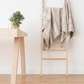 Set of 4 Natural Striped Huckaback Linen  Bath Towels Linum
