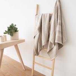 Natural Striped Huckaback Linen Bath Towel Linum