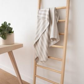Natural Striped Huckaback Linen Bath Towel Lucas