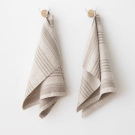 Set of 2 Hand and Guest Towels Natural Linen Linum
