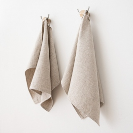 Set of 2 Guest Towels Beige Linen Twill