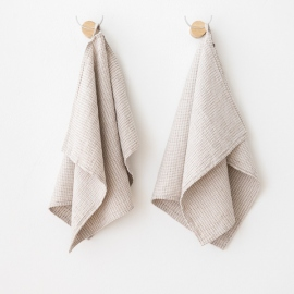 Set of 2 Natural Linen Cotton Guest Towels Wafer