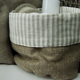 Beige Natural Linen Cotton Basket Jazz