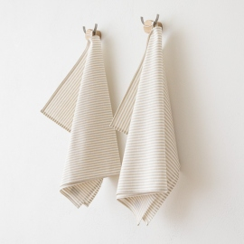 Set of 2 Tea Towels Beige Striped Linen Cotton Jazz