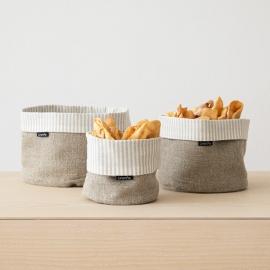 Beige Natural Striped Linen Cotton Basket Jazz