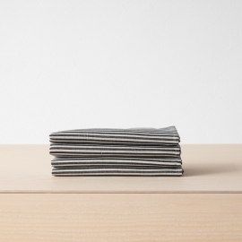Black Striped Linen Cotton Placemat Jazz