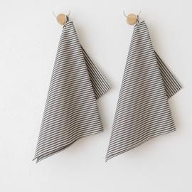 Set of 2 Tea Towels Black Striped Linen Cotton Jazz