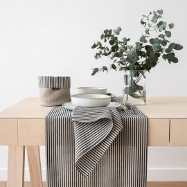 Black Striped Linen Runner Jazz
