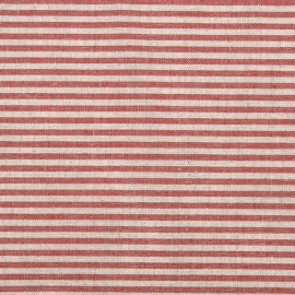 Red Striped Linen Fabric Jazz Washed