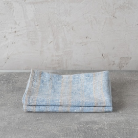 Set of 2 Hand and Guest Towels Linen Blue Multistripe