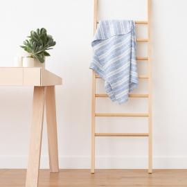 Bath Towel Blue White Linen Multistripe