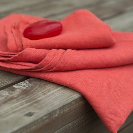 Orange Linen Bath Towels Set Lara