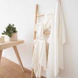 White Striped Linen Bath Towels Set Lucas