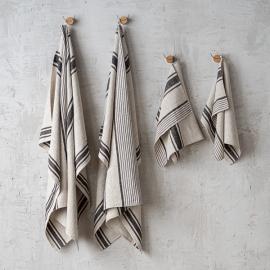 Natural Black Striped Linen Towels Set Provence