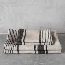 Black Striped Linen Towels Set Provence