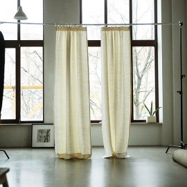 Cream Linen Pencil Pleats Curtain Panel Lara