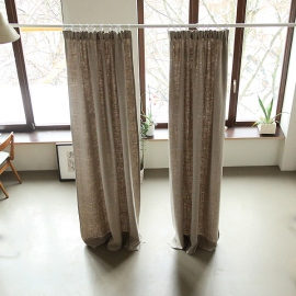 Natural Curtain Panel Pencil Pleats Linen Lara