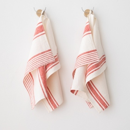 Set of 2 Red Linen Hand and Towels Tuscany