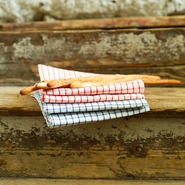 Set of 2 White Red Gingham Linen Kitchen Towels