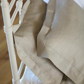 Natural Washed Bed Linen Flat Sheet Stripe
