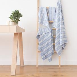 Blue Linen Bath Towels Set Multistripe