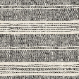 Fabric Black Multi Striped Linen Prewashed