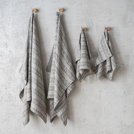Set of Black Natural Bath Towels Multistripe