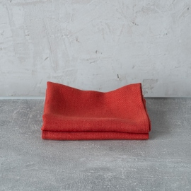 Set of 2 Orange Linen Tea Towels Lara