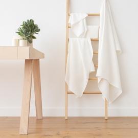 Off White Linen Bath Towels Set Lara