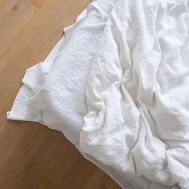 Optical White Linen Flat Sheet Stone Washed
