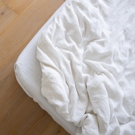 Optical White Washed Bed Linen Fitted Sheet