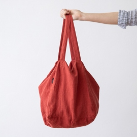 Linen Beach Bag Orange Lara