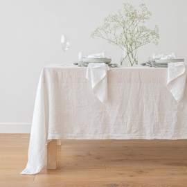 Stone Washed Linen Tablecloth Optical White