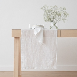 Stone Washed Optical White Linen Runner