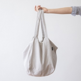 Linen Beach Bag Silver Lara