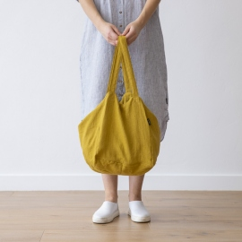 Linen Beach Bag Citrine  Lara