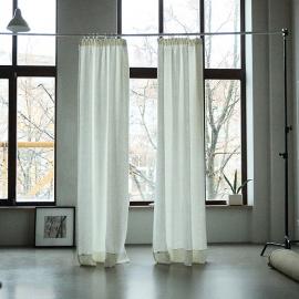 Off White Linen Curtain Panel With Pencil Pleats Lara