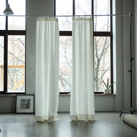 Off White Linen Curtain Panel With Pencil Pleats Lara