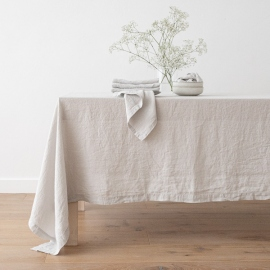 Stone Washed Silver Linen Tablecloth