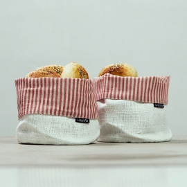 Linen Cotton Basket Jazz Red White