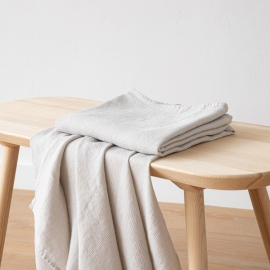 Silver Linen Waffle Bath Towel Washed