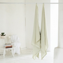 Aloe Green Linen Waffle Bath Towel Washed