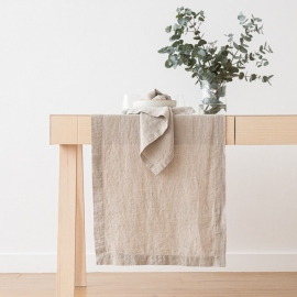 Stone Washed Linen Runner Natural