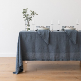 Stone Washed Blue Linen Tablecloth