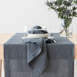 Stone Washed Linen Runner Blue