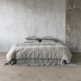 Linen Fabric Washed Taupe Stone Washed