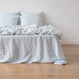 Ice Blue Stone Washed Bed Linen Flat Sheet