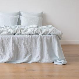 Ice Blue Linen Bed Set Stone Washed