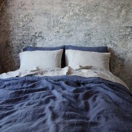 Linen Fabric Washed Blueberry Stone Washed