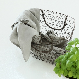 Set of 2 Stone Washed Linen Tea Towels Taupe